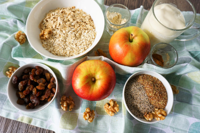 Meal Prep Rezepte Bircher Müsli Zutaten