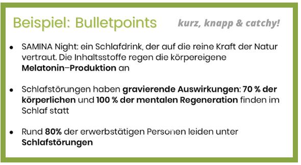 Bulletpoints Stichpunkte FAQ
