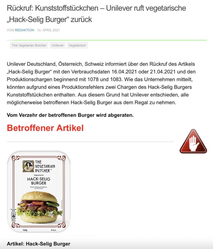The Vegetarian Butcher Rückruf
