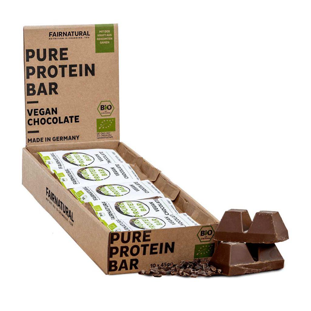 Vegane Proteinriegel pure protein bar choco fairnatural