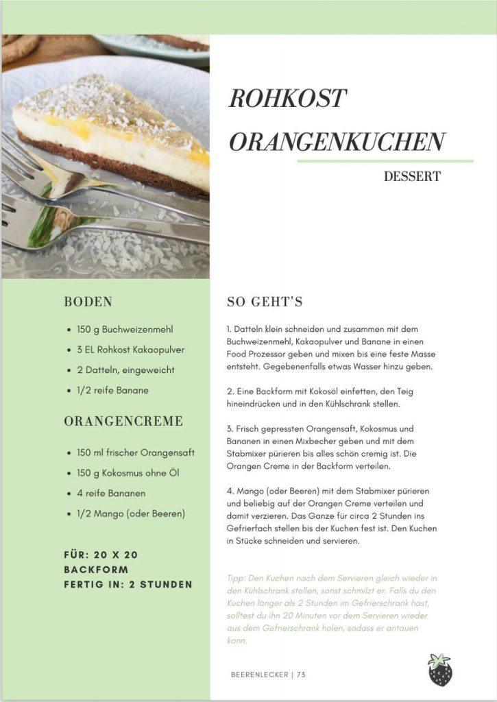 Rohkost Orangenkuchen fettarme Ernährung